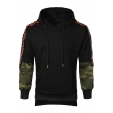 Mens Stylish Camo Letter Patched Long Sleeve Fake Two-Piece Casual Pullover Hoodie