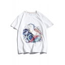 New Stylish Hippocampus Pattern Mens Short Sleeve Relaxed Casual T-Shirt