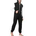 Men's New Stylish Colorblock Long Sleeve Hooded Zip Up Sport Casual Homewear Jumpsuits