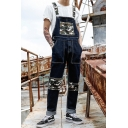 Men's New Stylish Camo Printed Patchwork Loose Casual Blue Jeans Denim Bib Overalls