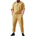 Men's Simple Solid Color Long Sleeve Lapel Collar Button Front Drawstring Waist Casual Workwear Coveralls