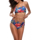 Unique Printed Blue Crisscross Hollow Out Halter Neck High Waist Bottom Bikini Swimwear