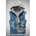 Fashion Camo Print Hood Zip Closure Destroyed Ripped Light Blue Denim Vest for Men