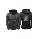 Harry Potter Series New Trendy Letter SLYTHERIN Snake Printed Long Sleeve Zip Up Fitted Black Hoodie