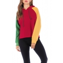 Fashion Color Block Long Sleeve Casual Loose Drawstring Hoodie