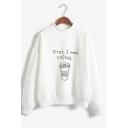 Cartoon Coffee Letter Pattern Long Sleeve Mock Neck Loose Sweatshirt