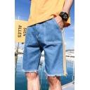 Men's Summer Blue Frayed Edges Striped Side Straight Fitted Denim Shorts