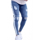 Men's New Stylish Cool Tape Side Zip-Embellished Cuff Ripped Jeans in Light Blue