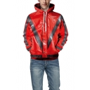 New Trendy Cool 3D Print Buttons Patch Long Sleeve Unisex Loose Casual Red Drawstring Hoodie