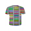 Unisex Trendy 3D Colorful Letter Printed Short Sleeve Leisure T-Shirt