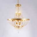 Living Room Empire Chandelier with Clear Crystal Bead Vintage Gold Hanging Light