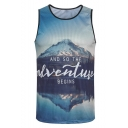 New Fashion Letter AND SO THE ADVENTURE BEGINS Sport Breathable Mesh Panel Blue Tank for Men