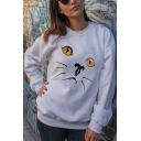 Popular Cute Cat Pattern Round Neck Long Sleeves Leisure Pullover Sweatshirt