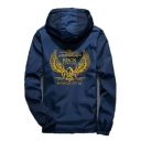 Fashion Letter Gold Wing Printed Mens Hooded Windproof Zip Up Sport Casual Jacket