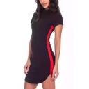 Summer Trendy Mock Neck Striped Side Zipper Back Short Sleeve Black Mini Bodycon Dress
