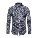 Mens Nightclub Fashion Leopard Print Long Sleeve Fitted Button-Up Shirt
