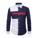 Men's Stylish Color Block Long Sleeve Slim Fitted Button-Up Shirt