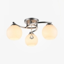 Modern Style White Glass Semi Flush Light with Globe Shade 3/5 Lights Ceiling Lighting with Clear Crystal