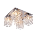 Rectangle Shape Semi Flush Mount Lighting 4 Lights Modern Clear Crystal Ceiling Light Fixture, H8