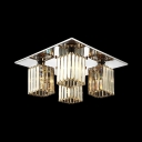Clear Crystal Rectangle Semi Flush Mount Lighting 4/6/9 Lights Modern Style Ceiling Light