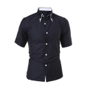 Mens Simple Basic Solid Color Short Sleeve Fitted Button-Down Shirt