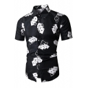 Fancy Cool 3D Digital Playing Cards Printed Short Sleeve Slim Fit Button-Up Men's Black Shirt