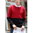 Guys Trendy Rhombus Colorblock Long Sleeve Round Neck Loose Casual Sweater