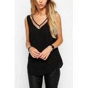 Womens Simple Plain V-Neck Sleeveless Mesh Panel Chiffon Tank Top