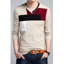 Fashion Colorblock Long Sleeve Mens Basic V-Neck Fitted Sweater