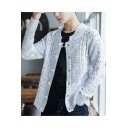 Mens Basic Simple Plain Round Neck Long Sleeve Button Down Cable Knit Cardigan