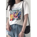 Fancy Girls Letter Figure Printed Round Neck Short Sleeve White Loose Fit T-Shirt