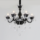 Black Crystal Candle Chandelier 6 Lights Height Adjustable Antique Chandelier Light with 12