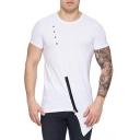 Mens Unique Cool Zip Patched Asymmetrical Hem Cotton Plain Hipster T-Shirt