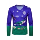 Cartoon 3D Dinosaur Print Color Block Long Sleeve V-Neck Dark Blue T-Shirt