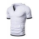 Summer Fashion Contrast Trim V-Neck Hooded Sport Casual T-Shirt for Men