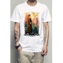 Doctor Who Fashion Figure Printed Round Neck Short Sleeve White Pullover T-Shirt