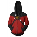 Fashion Comic Colorblocked Cosplay Costume Black and Red Long Sleeve Zip Up Hoodie