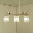 Gold Cylinder/Barrel/Double Cylinder/Bell Chandelier 3 Lights Vintage Clear Crystal Pendant Light for Dining Room