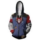 Soul Eater Cool 3D Skull Printed Cosplay Costume Long Sleeve Blue Zip Up Drawstring Hoodie