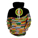Fashionable 3D Target Letter Printed Long Sleeve Loose Fit Black Sport Pullover Hoodie