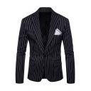 Fashionable Single Button Notch Lapel Long Sleeve Pinstripe Suits for Men