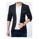 New Stylish Notched Lapel Long Sleeve Single Button Simple Plain Fitted Mens Suit Jacket
