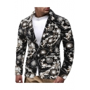 Ethnic Style Floral Printed Notched Lapel Long Sleeves Single Button Mens Black Suit Blazer