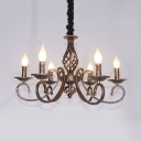 Metal Twist Arm Chandelier Light 6 Lights Antique Hanging Pendant in Bronze for Living Room