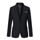 Stylish Plain Long Sleeve Single Button Notch Lapel Slim Evening Dress Suit for Men