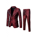 Fashion Dark Grain Printed Long Sleeve Single Button Lapel Mens Suit Set
