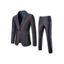Men's Long Sleeve Double Button Lapel Grey Business Wedding Two-Piece Suit for Groom