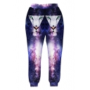 New Trendy 3D Galaxy Tiger Animal Printed Elastic Waist Purple Casual Pants Sweatpants
