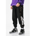 Men's Hip Hop Style Letter Camo Printed Side Drawstring Waist Loose Casual Cotton Track Pants