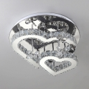 Metal Love Shape Semi Flush Mount Light Contemporary LED Ceiling Lamp with Clear Crystal in Chrome